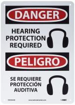 "NMC ESD690AB Bilingual OSHA Sign, Legend ""DANGER - HEARING PROTECTION REQUIRED"" with Graphic, 10"" Length x 14"" Height, 0.040 Aluminum, Black/Red on White"