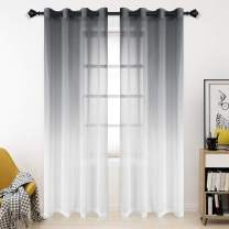 Bermino Faux Linen Ombre Sheer Curtains, 54 x 95 inch, Grey - Grommet Gradient Voile Semi Sheer Curtains for Bedroom and Living Room, Set of 2 Curtain Panels