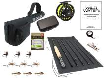 Wild Water Fly Fishing 9 Foot, 7-Piece, 5-Weight Fly Rod Complete Fly Fishing Rod and Reel Combo Starter Package