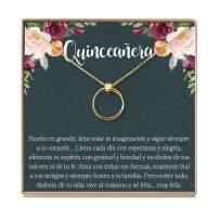 Dear Ava Quinceañera Gift Necklace: Regalos para Quinceañera, Jewelry, Sweet Fifteen, 2 Linked Circles