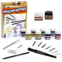 24 Piece Manga Anime Drawing Tool Kit - Premium Art Animation Set w Ink, Watercolors, Knives, Pen, Nibs, Eraser, and Pencils - Great Gift for Beginners or Experts
