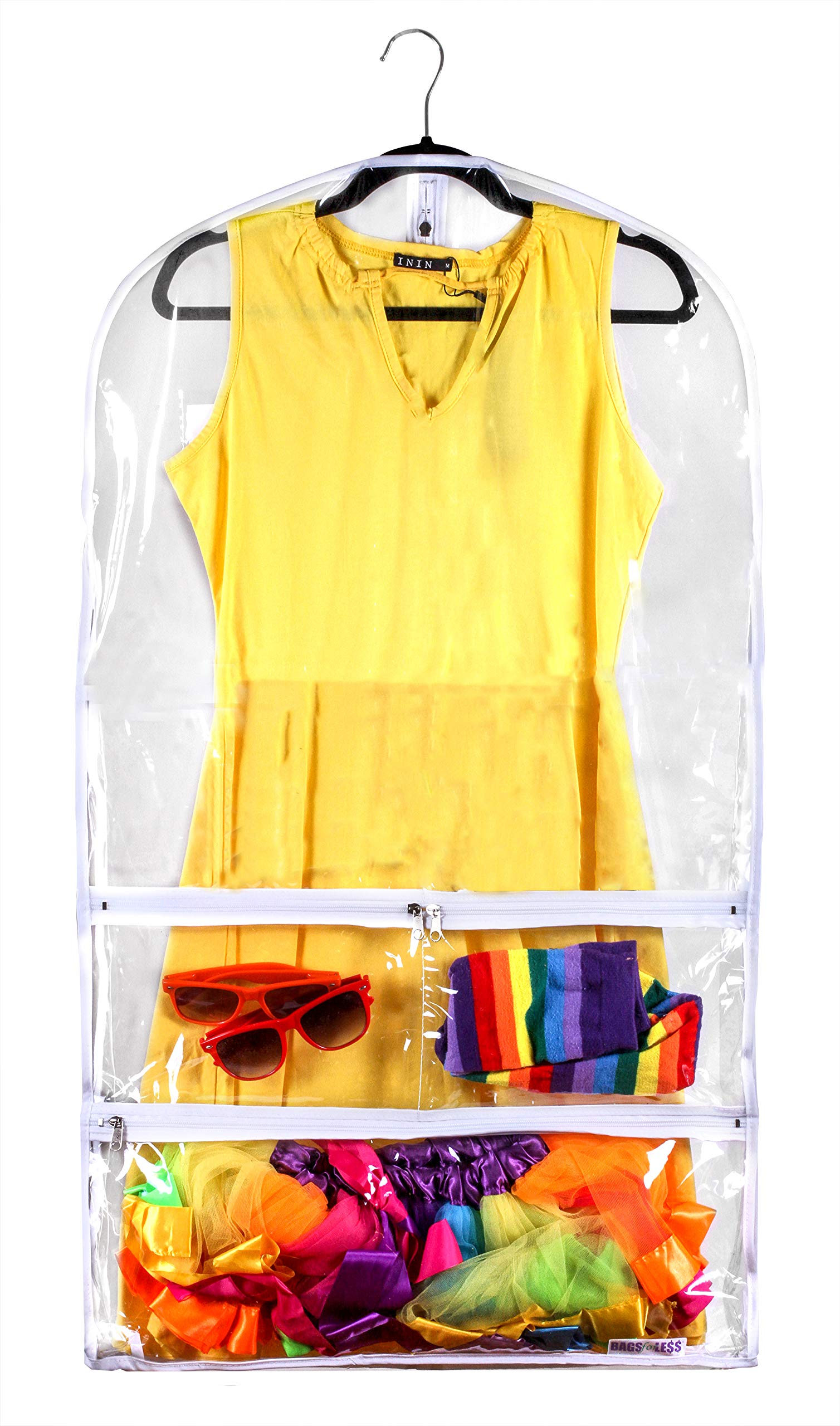 Clear Suit Garment Bag 20 inch x 38 inch Dance, Dress, and Costumes Hanging Travel Storage for Clothes, Shoes, and Accessories Water-Resistant Organizer (1)