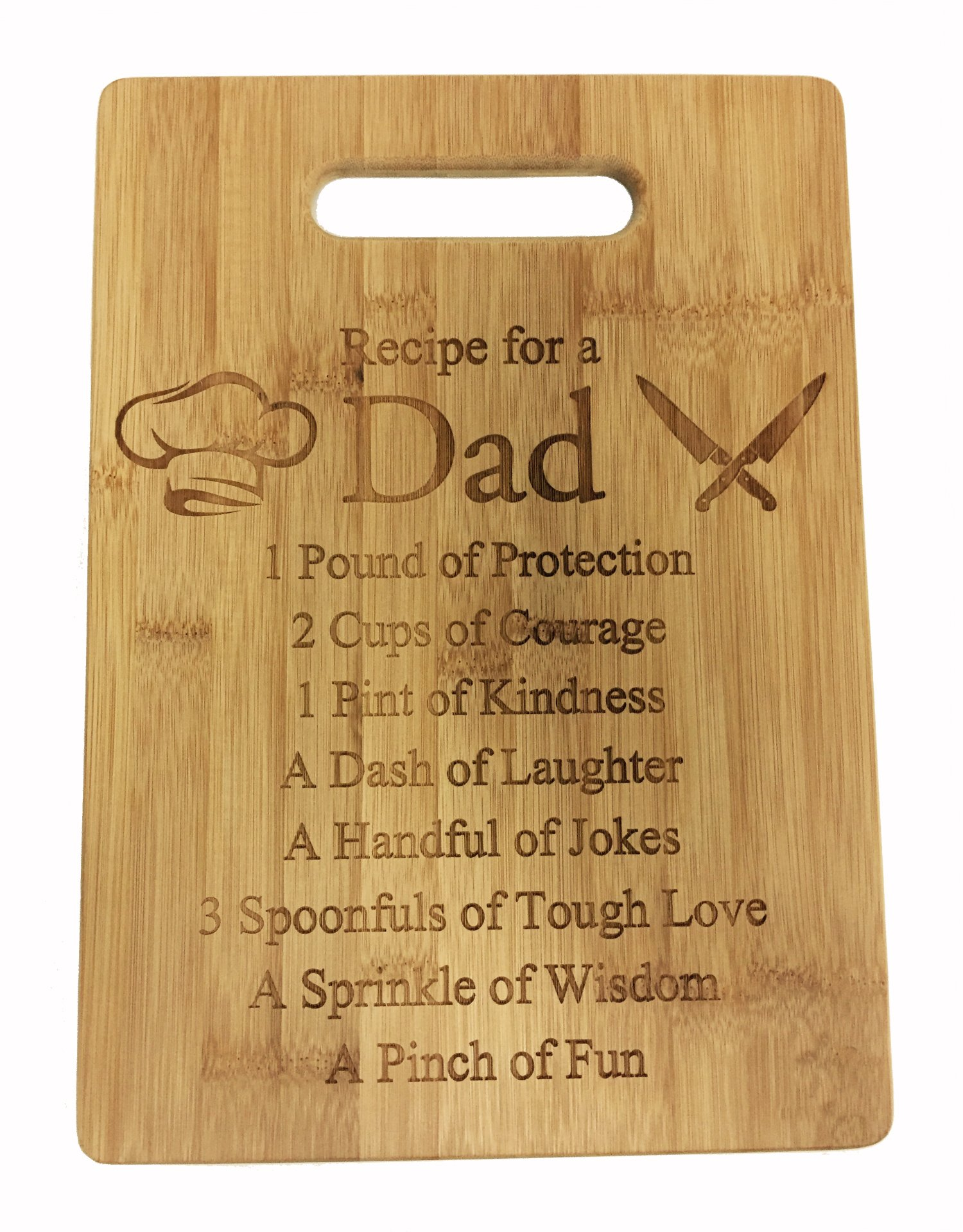 Recipe for a Dad Cute Funny Laser Engraved Bamboo Cutting Board - Wedding, Housewarming, Anniversary, Birthday, Father's Day, Gift For Him, For Her, For Boys, For Girls, For Husband, For Them