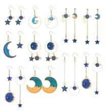 Besteel 10 Pairs Star Moon Dangle Earrings for Women Earth Planet Drop Earrings Asymmetrical Long Earrings Set