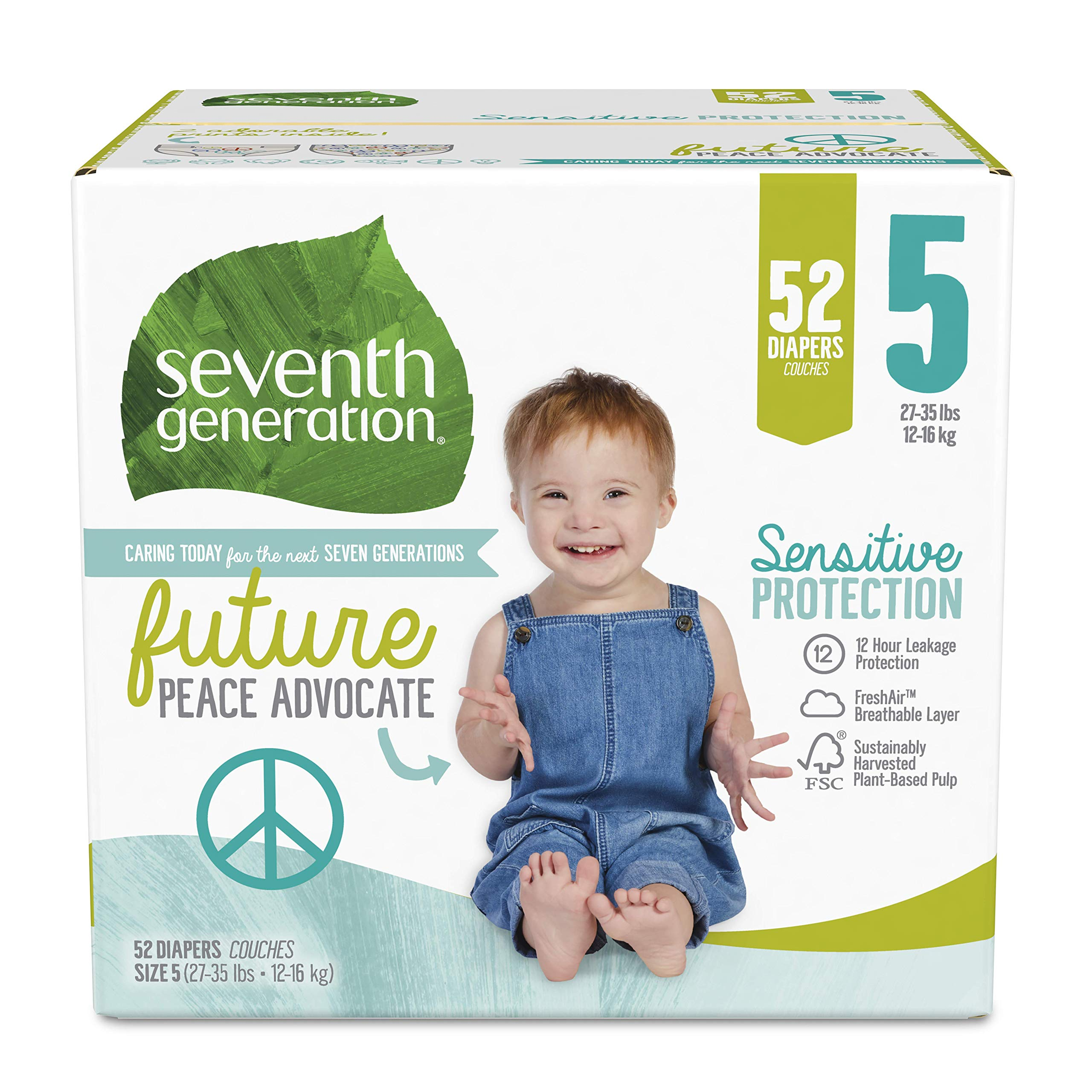 Seventh Generation Baby Diapers, Sensitive Protection, Size 5, 52 Count