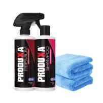 PRODUXA Premium Super Gloss Shine Spray (1) Ph-Balanced Detox Car Wash Soap & Shampoo (1), Professional Grade Super Absorbent Premium Microfiber Towels (2) - Car Wash Kit