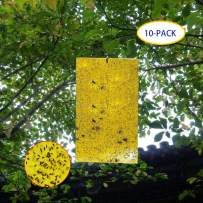 Garsum 10-Pack Dual-Sided Yellow Sticky Traps for Flying Plant Insect Like Fungus Gnats, Aphids, Whiteflies, Leafminers,6x8 Inch