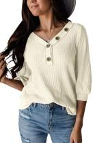 Maisolly Women's V Neck Button Waffle Knit 3/4 Sleeve Shirt