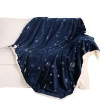"Exclusivo Mezcla 50"" x 70"" Large Starry Throw Blanket, Reversible Ultra Soft Velvet& Plush Sherpa Blanket (Snowflakes & Stars, Navy Blue) - Decorative, Lightweight, Soft and Warm"