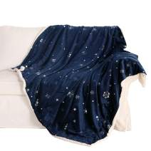 "Exclusivo Mezcla 50"" x 70"" Large Starry Throw Blanket, Reversible Ultra Soft Velvet& Plush Sherpa Blanket (Snowflakes & Stars, Navy Blue) - Decorative, Lightweight, Soft and Warm"