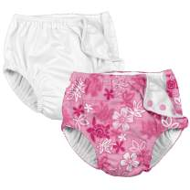 i Play. Baby, Infant and Toddler Reusable Absorbent Swim Diaper for Girls (Pack of 2)
