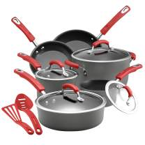 Rachael Ray Brights Hard Anodized Nonstick Cookware Pots and Pans Set, 12 Piece, Gray with Red Handles