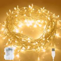 Aluan Christmas Lights Fairy String Lights 100 LED 36ft USB or Battery Operated 8 Modes Waterproof LED String Lights for Home Patio Party Wedding Christmas Indoor Outdoor Decoration, Warm White