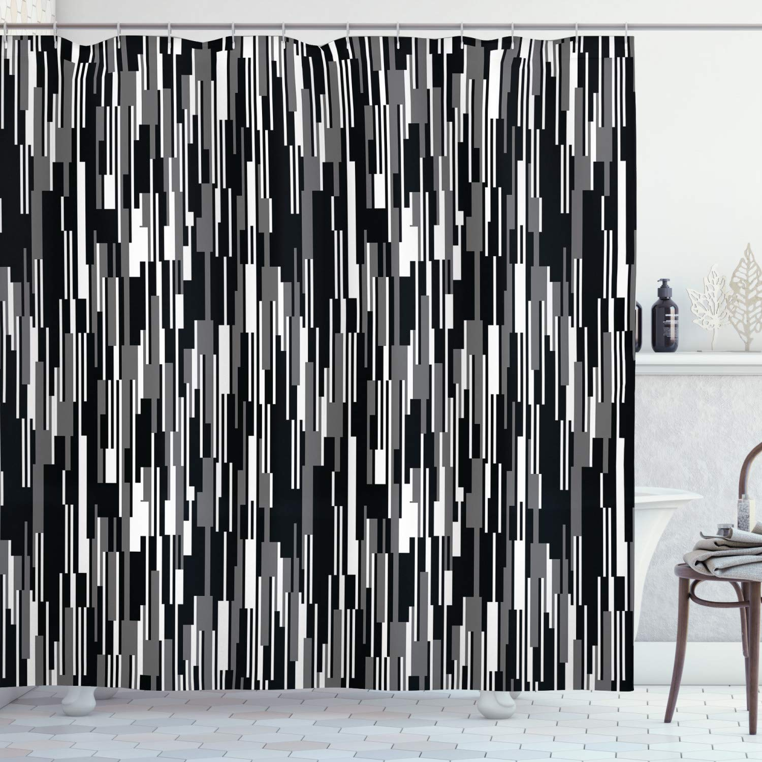 Ambesonne Black And White Shower Curtain Barcode Pattern Abstraction Vertical Stripes In Grayscale Colors Cloth Fabric Bathroom Decor Set With Hooks 70 Long Black Grey White
