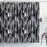 """Ambesonne Black and White Shower Curtain, Barcode Pattern Abstraction Vertical Stripes in Grayscale Colors, Cloth Fabric Bathroom Decor Set with Hooks, 84"""" Long Extra, Black Grey White"""