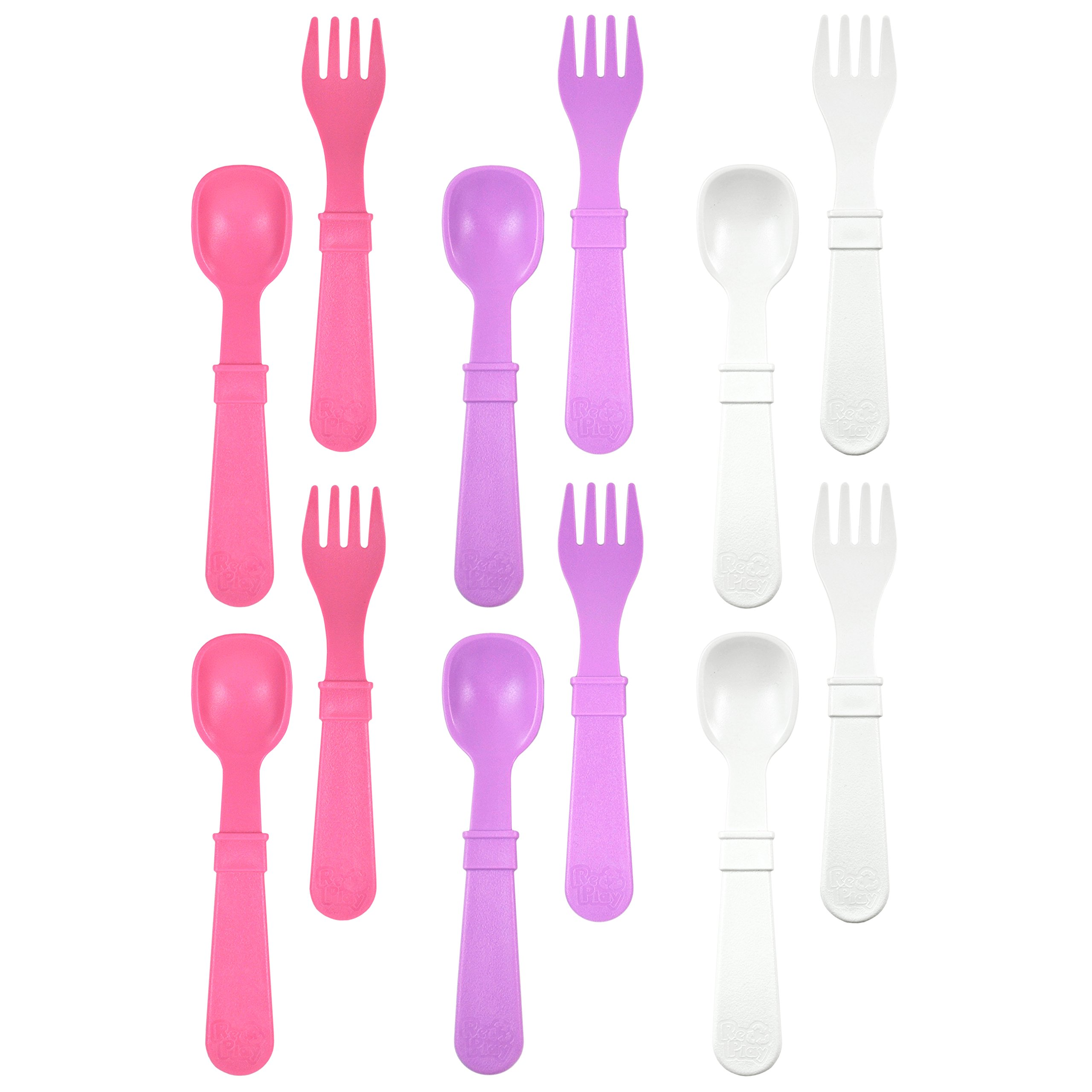 RE-PLAY Made in The USA 12pk Fork and Spoon Utensil Set for Easy Baby, Toddler, and Child Feeding in Purple, White and Bright Pink | Made from Eco Friendly Heavyweight Recycled Milk Jugs | (Berry)