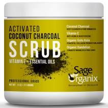 Sage Organix DETOXING ACTIVATED COCONUT CHARCOAL SCRUB, Facial Body Deep Exfoliating Charcoal Cleanser, Remove Blackheads, Unclog & Minimize Pores, Reduce Wrinkles, Skin Brightening, Women Men, 11 oz