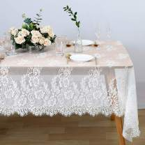 Classic White Lace Tablecloth 60x120 inch Rectangle Rustic Embroidered Tablecloth Vintage Wedding Decoration for Table Bridal Shower Party Table Cover