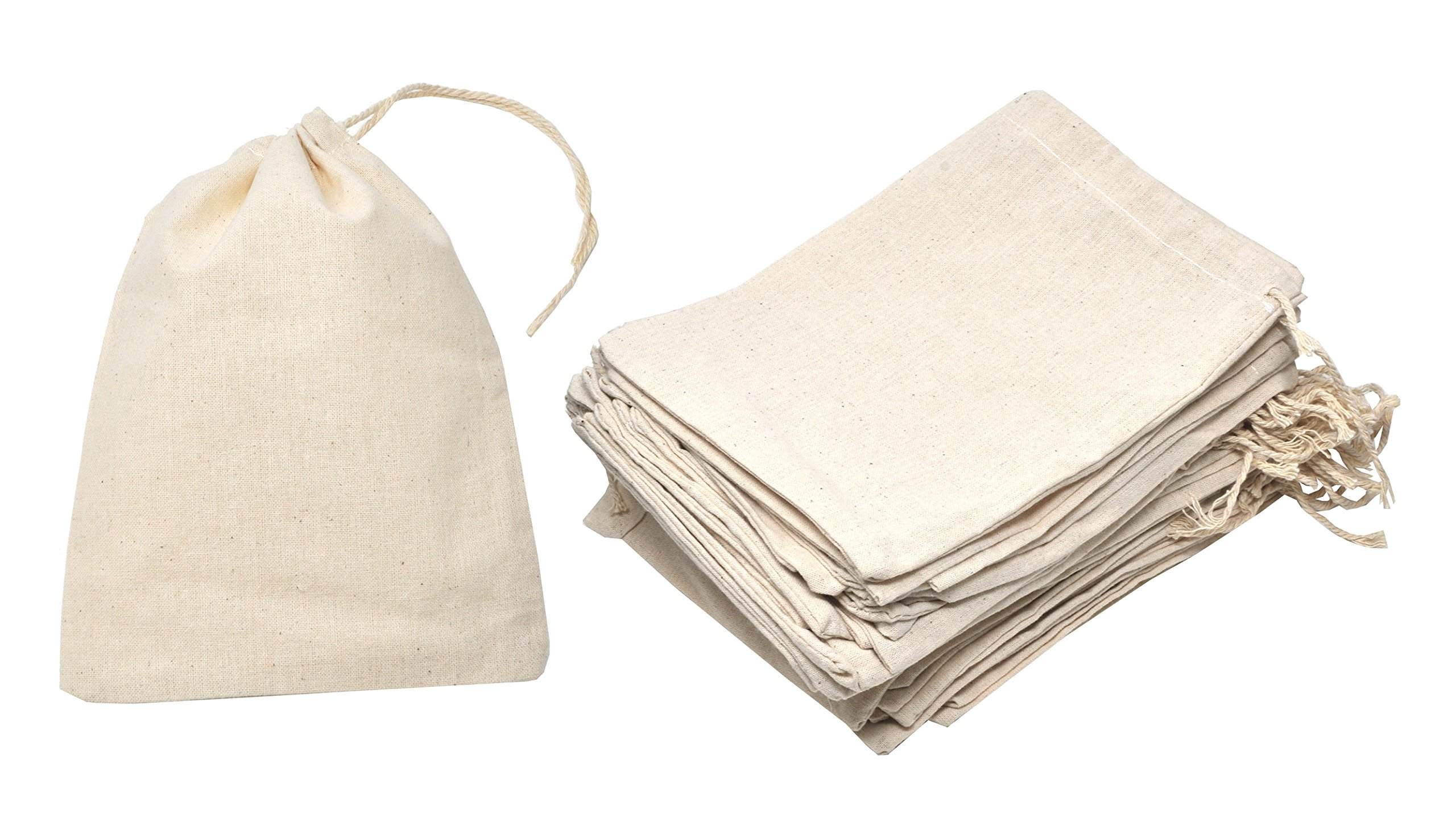 Mandala Crafts Bulk Unbleached Fabric Cloth Cotton Muslin Sachet Bags with Drawstring for Soap Spice Tea Favor Gift (5.75 X 7.5 Inches 20 Count, Ivory)
