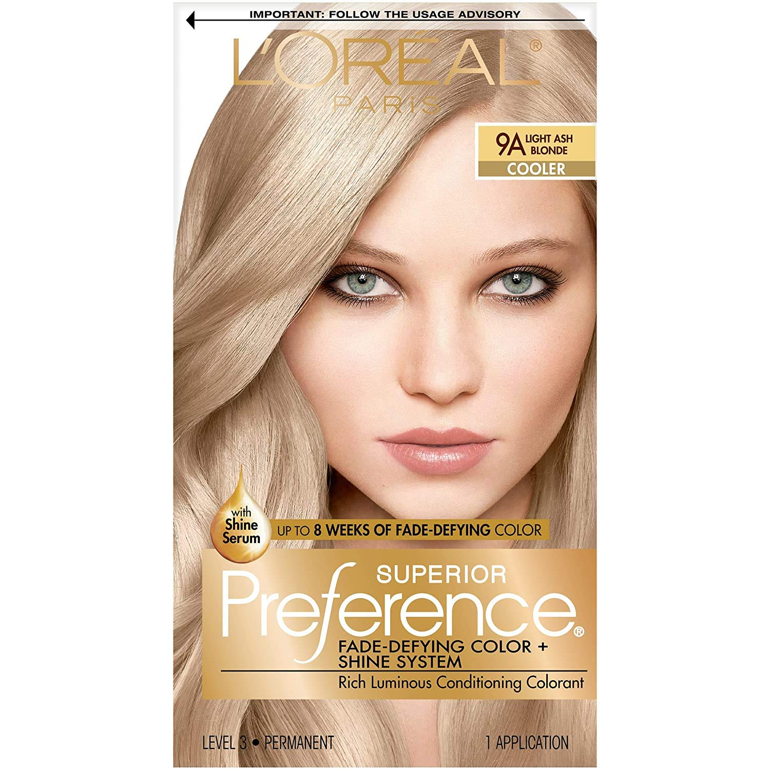 L'Oréal Paris Superior Preference Fade-Defying + Shine Permanent Hair Color, 9A Light Ash Blonde, 1 kit Hair Dye