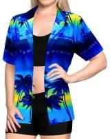 Women Hawaiian Shirt Beach Top Tank Casual Aloha Holiday Blouses Boho Button Up