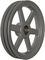 """TB Woods 2AK84138 FHP Bored-to-size V-Belt Sheave, A Belt Section, 2 Grooves, 1-3/8"""" Bore, Cast Iron, 8.25"""" OD, 3040 max rpm"""