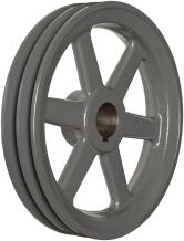 """TB Woods 2AK5478 FHP Bored-to-size V-Belt Sheave, A Belt Section, 2 Grooves, 7/8"""" Bore, Cast Iron, 5.25"""" OD, 4770 max rpm"""