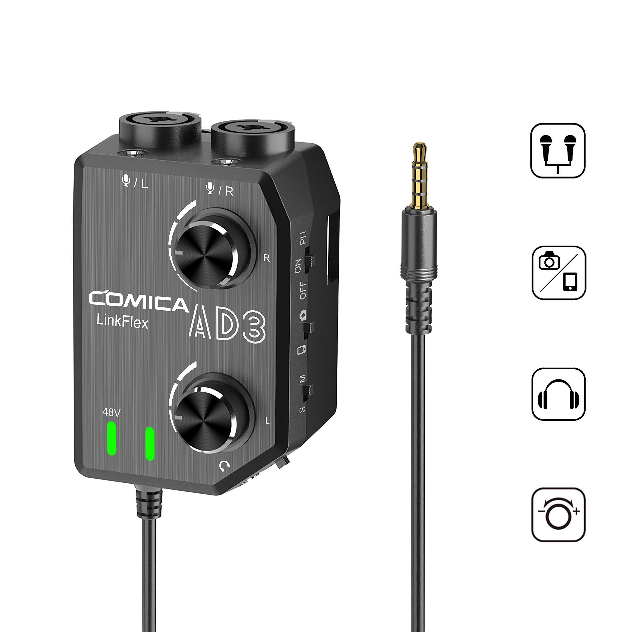 COMICA LINKFLEX.AD3 2-channel XLR/3.5mm Microphone Preamp Mixer with 48V Phantom Power, Real Time Monitor, Guitar Interface Preamp for DSLR Cameras, Camcorders, iPhone,iPad,Mac and Android Smartphones