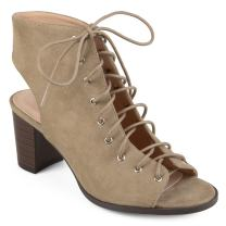 Journee Collection Womens Lace-up Faux Suede High Heel Booties