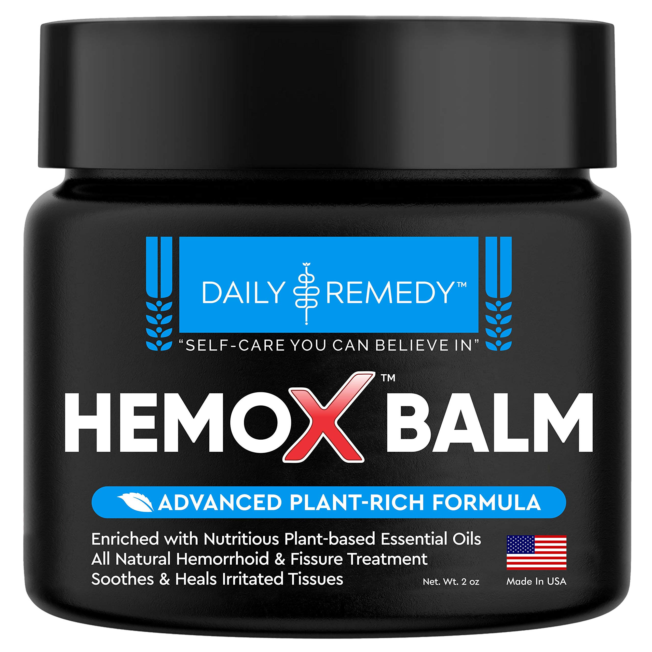 Daily Remedy HemoX Hemorrhoid & Anel Fissure Balm- All Natural Hemmoroid Treatment Symptom Relief Cream - Fast-Acting Organic-Based Ointment for Hemroid Burning, Itching, Pain & Swelling- Made in USA