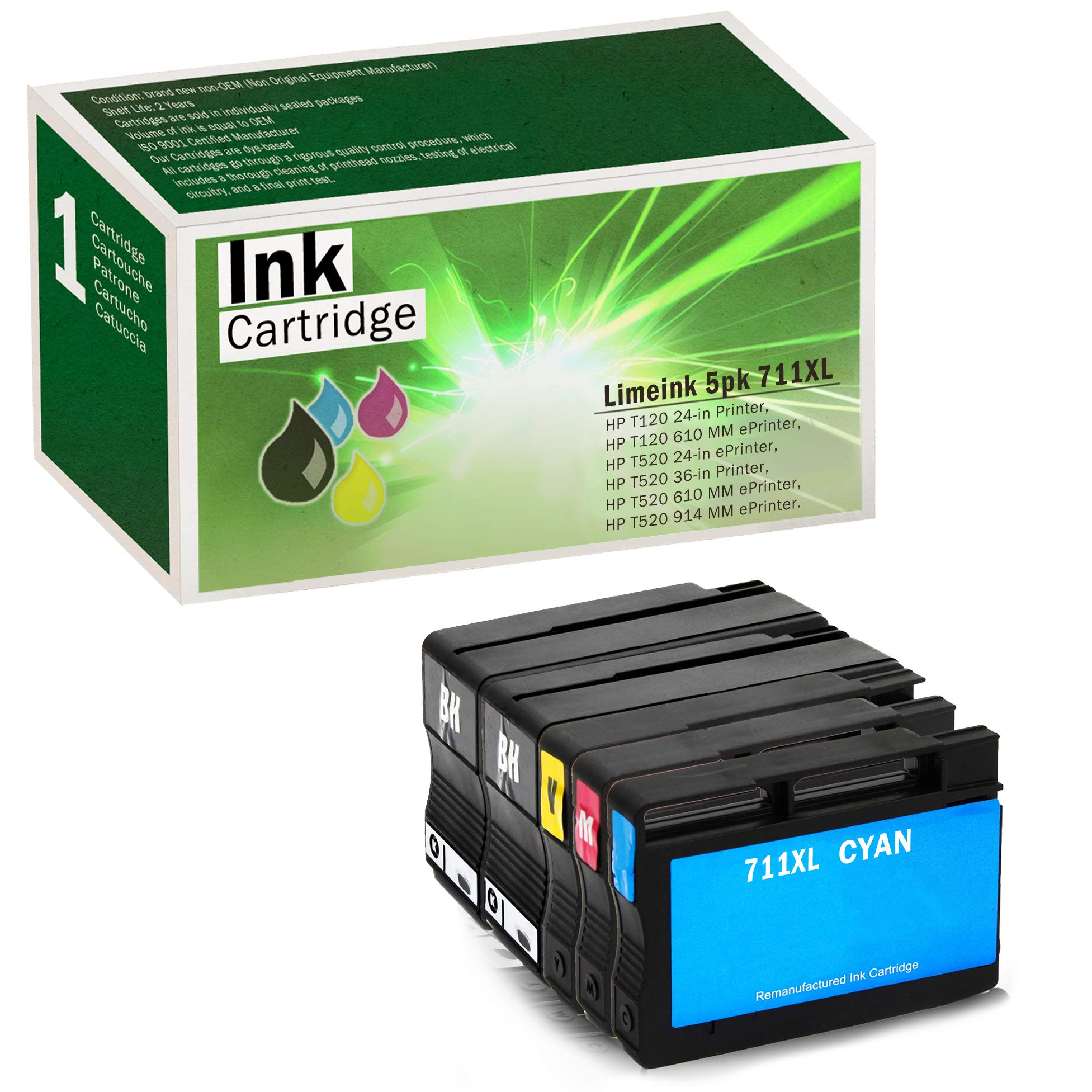 Limeink 5 Pack Compatible 711XL 711 High Yield Ink Cartridges (2 Black, 1 Cyan, 1 Magenta, 1 Yellow) for HP Designjet T120 T520 Printer