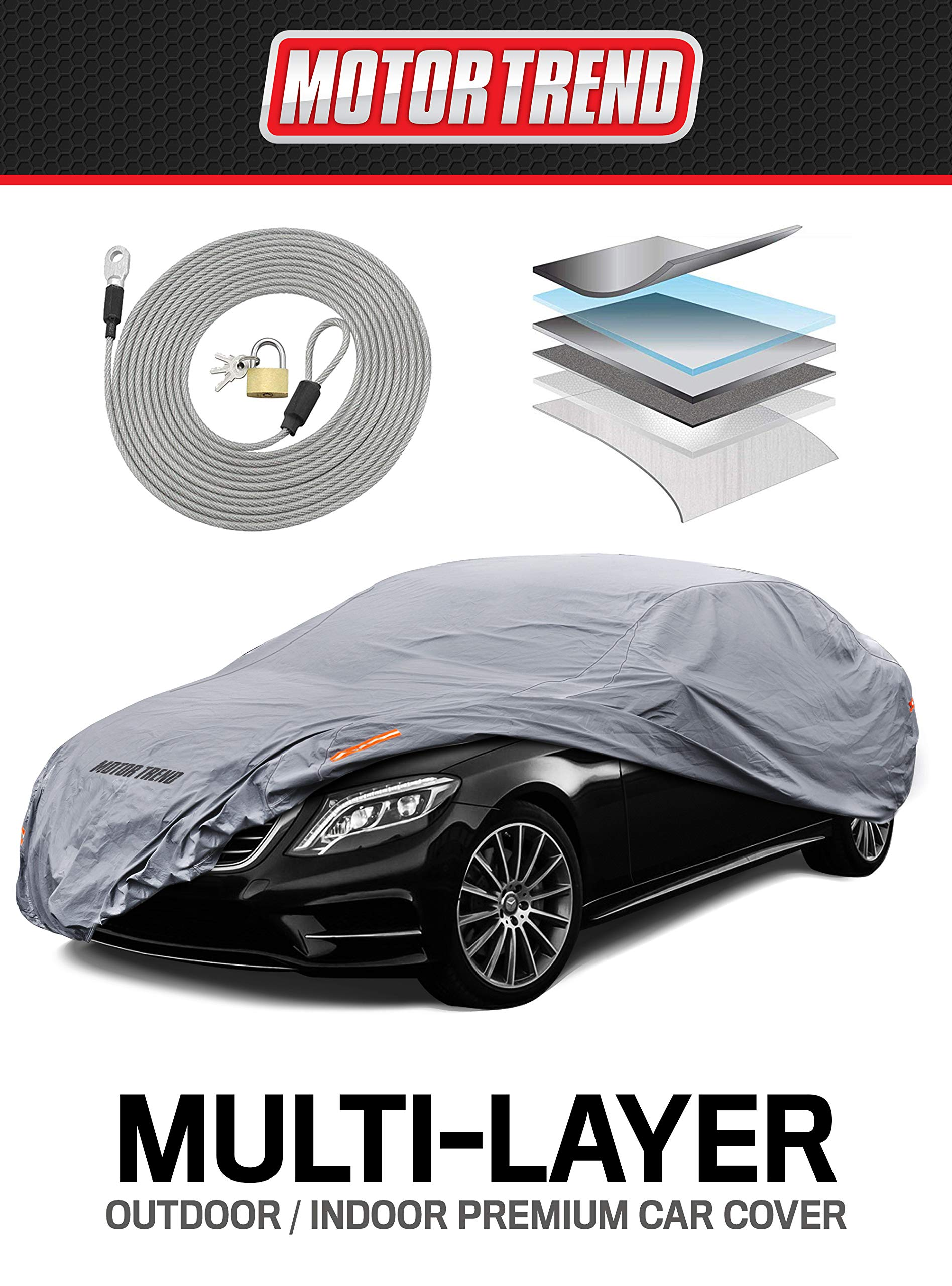 """Motor Trend M5-CC-3 L (7-Series Defender Pro-Waterproof Car Cover for All Weather-Snow, Wind, Rain & Sun-Ultra Heavy Multiple Layers-Fits Up to 190"""")"""
