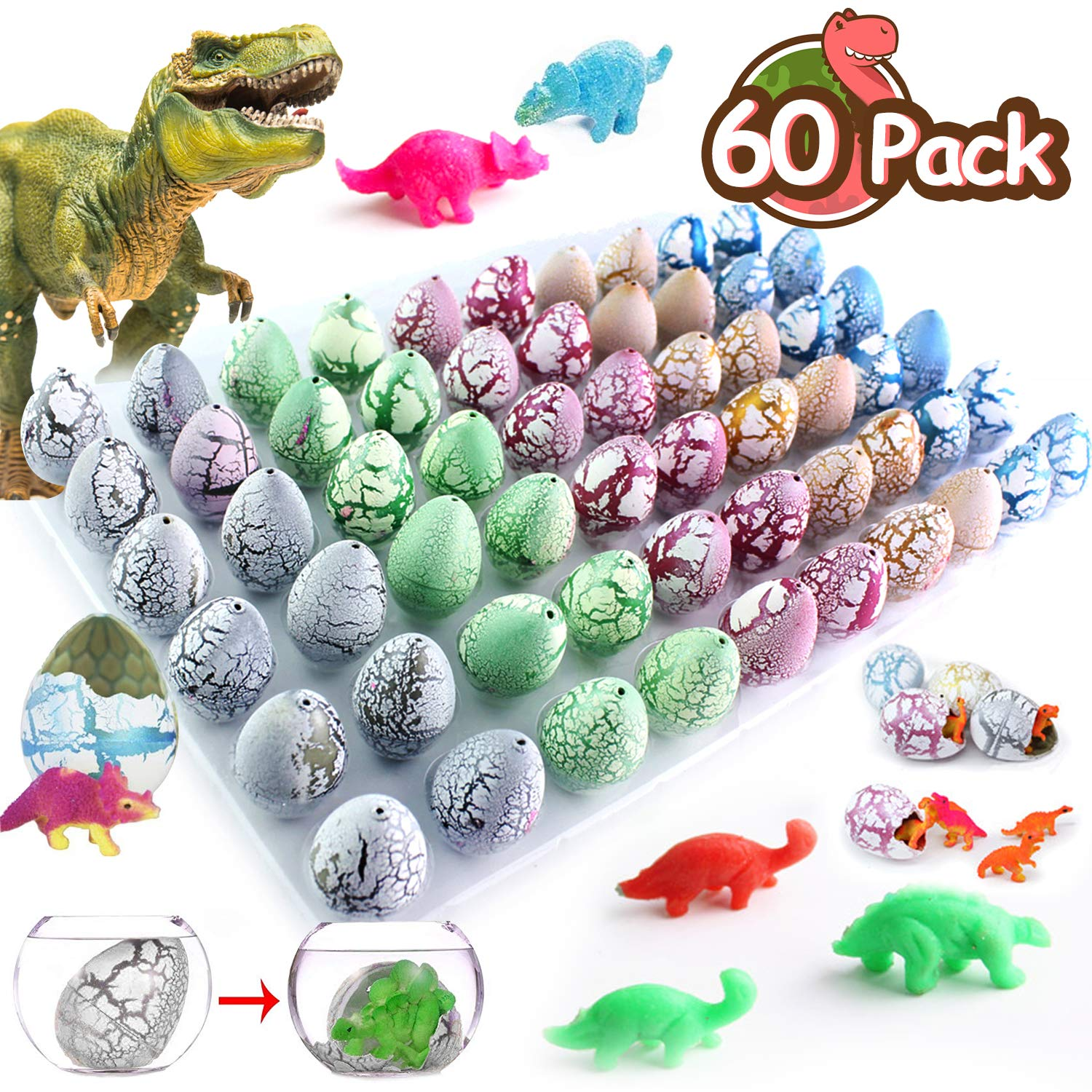 TURNMEON 60 Pack Crack Dinosaur Eggs Hatch in Water Grow Jurassic Eggs Novelty Magic with Mini Dino Toys Classroom Learning Outdoor Toys Easter Party Favors Supplies Festival Gifts for Kids Girls Boys