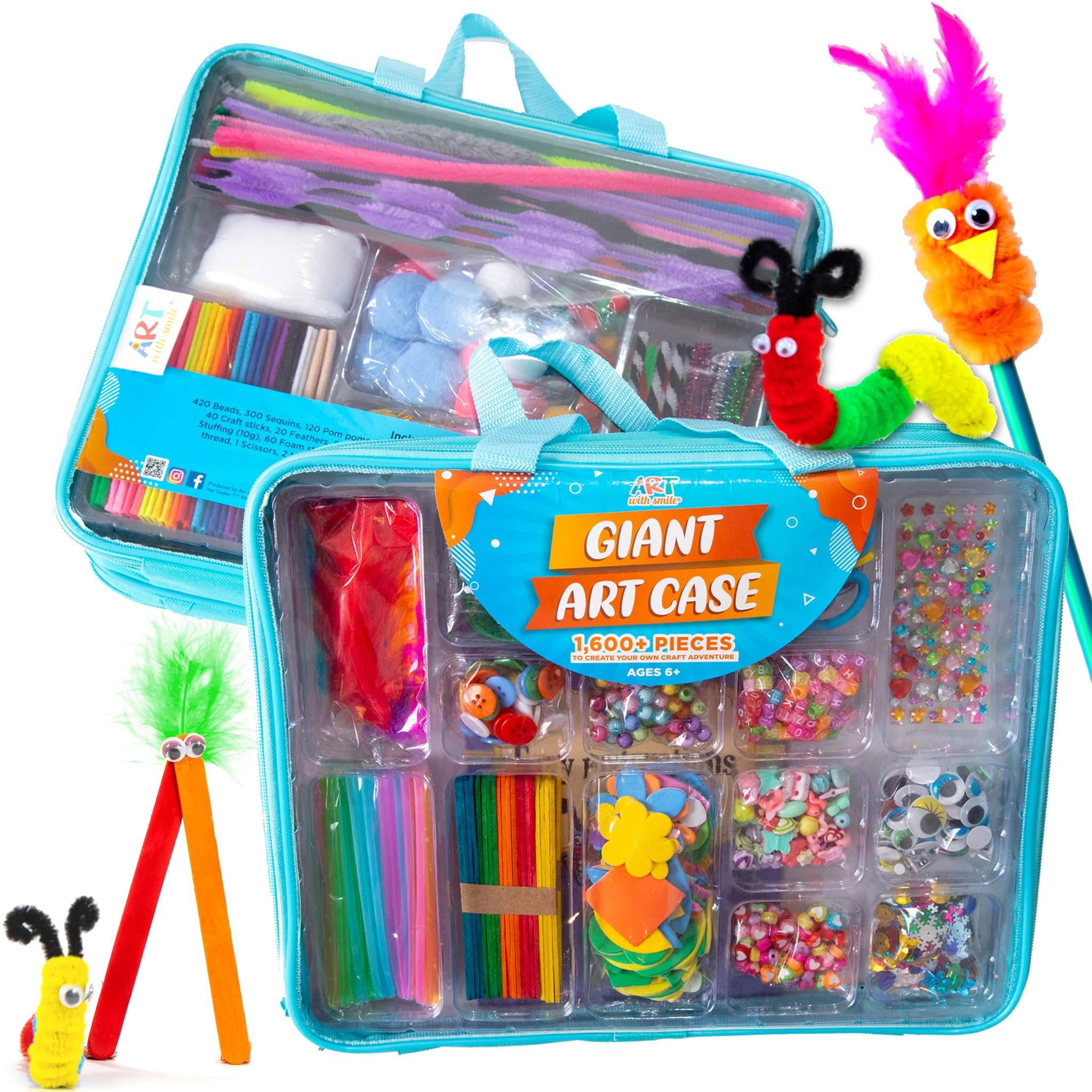 Giant Art Case Set of 1,600+ Pc.– Arts and Crafts Supplies for Kids 6+ – DIY Projects Case Filled with Pom Pom Box Craft Kit, Beads, Buttons, Scissors, and Pipe Cleaners for Kids by Art with Smile