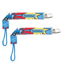 BooginHead Baby Newborn PaciGrip Pacifier Clip, Super Hero BAM! Blue/Red (Pack of 2)