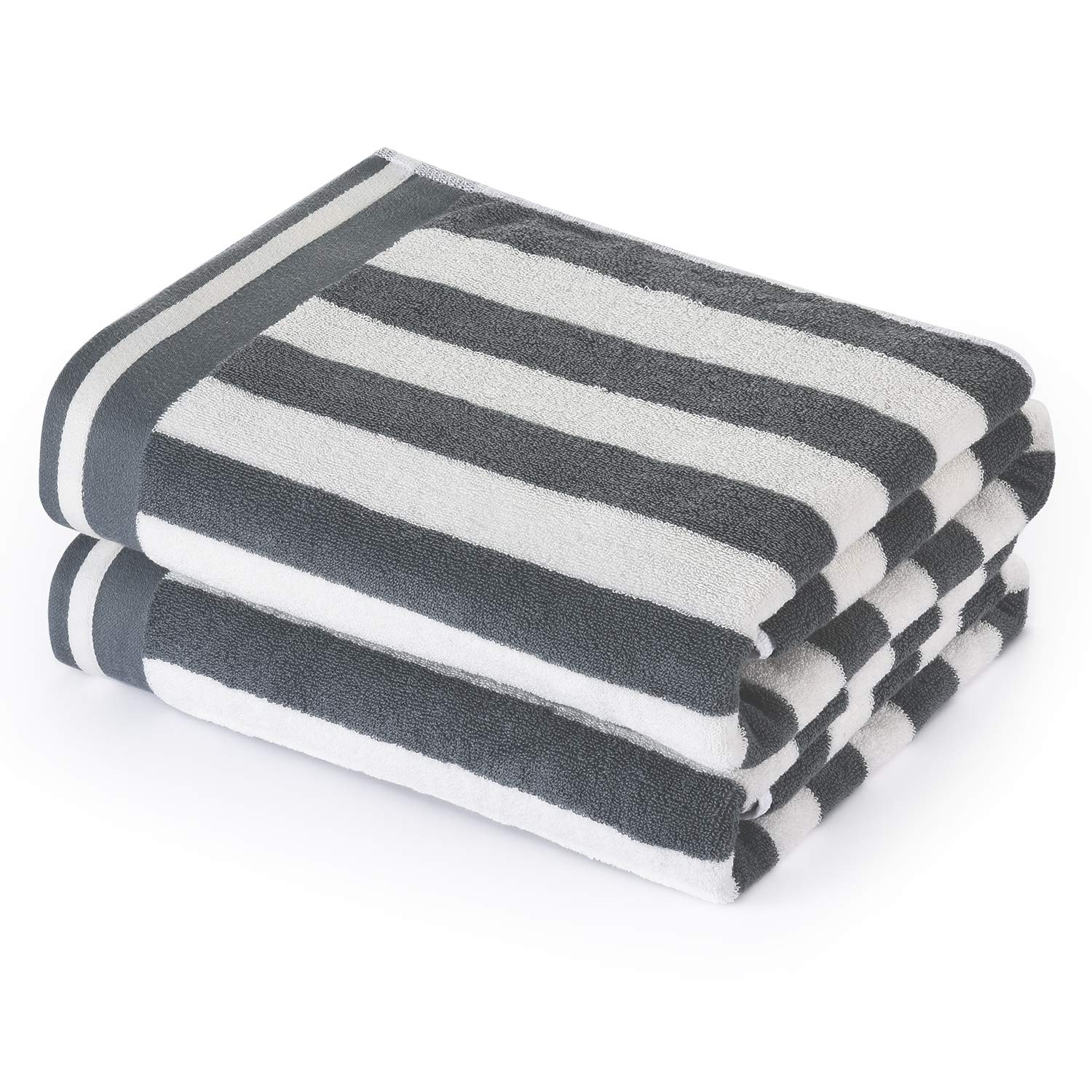 CASOFU Bath Towels, Cabana Stripe Beach Towels, Premium Cotton Bath Towels with Light Stripe - 100% Ring Spun Cotton Large Beach and Pool Towels - 2 Piece (Grey, 27x 54 inches)