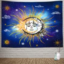 """Sylfairy Mandala Wall Tapestry Sun Moon Tapestry Wall Hanging Tapestry Wall Decor Tablecloth Tapestries for Bedroom Living Room Dorm Decoration 82"""" X 59"""" (Galaxy Sun Moon)"""
