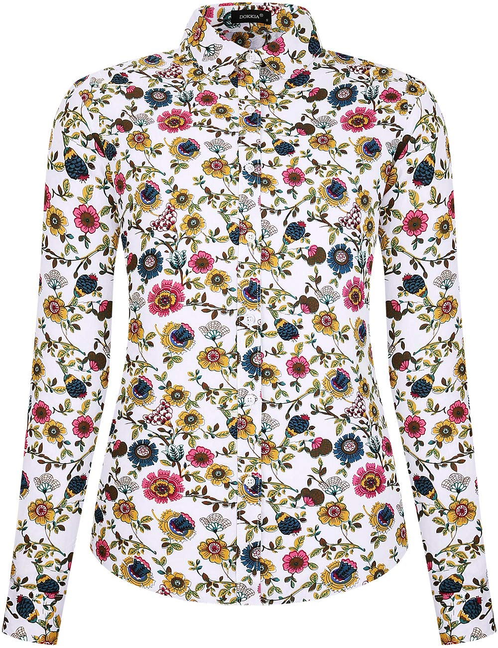 DOKKIA Women's Tops Vintage Casual Shirts Cotton Long Sleeve Work Button Up Dress Blouses (Yellow White Sunflower, Large)