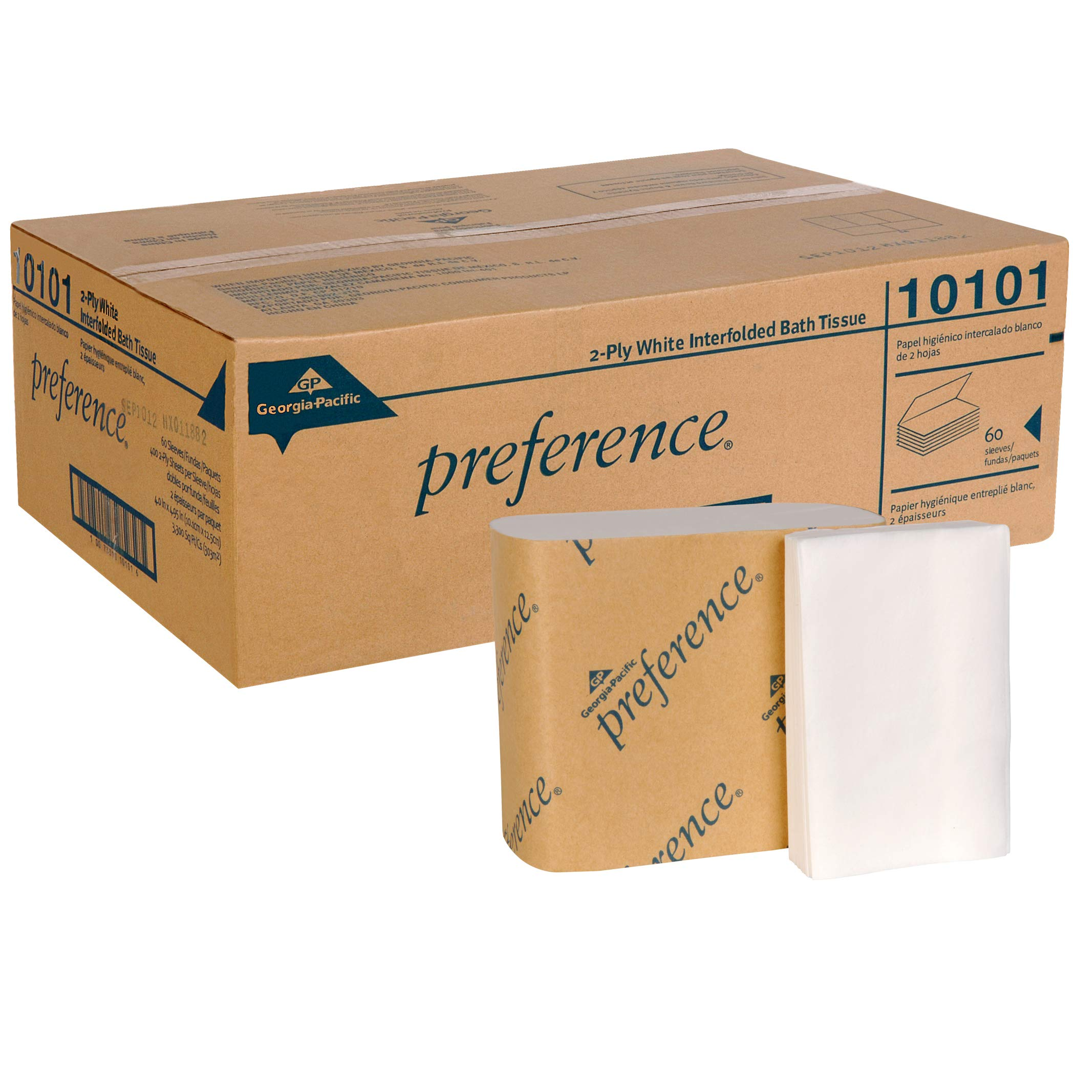 Preference 2-Ply Interfolded Toilet Paper by GP PRO (Georgia-Pacific), 10101, 400 Sheets Per Pack, 60 Packs Per Case