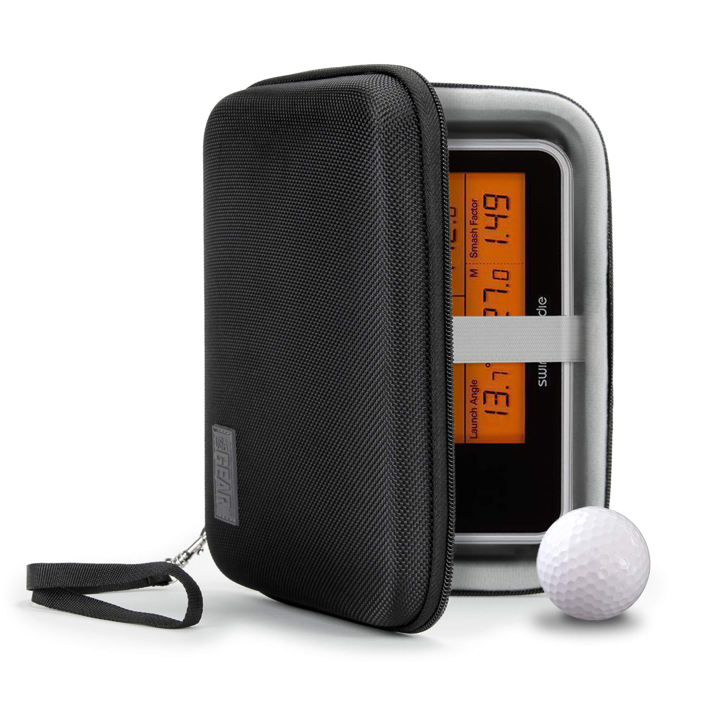 USA GEAR Golf Monitor Case - Swing Caddie Hard Case Compatible with - Swing Caddie SC300, SC200 Plus, and More Golf Accessories - Water Resistant Exterior and Scratch Resistant Interior (Black)