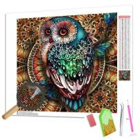 ANMUXI 5D Diamond Painting Kits Full Square Drills for Adults 25X25CM Kaleidoscope Owl Animals Paint with Diamonds Art for Stress-Relief & Home Decor