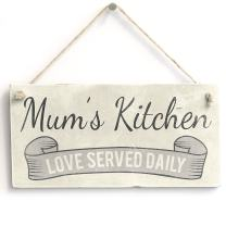 "Meijiafei Mum's Kitchen Love Served - Sign/Plaque Small Fun Gift for Mum 10""x5"""