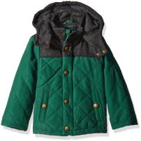London Fog Boys Barn Jacket With Faux Wool Hood And Yolk
