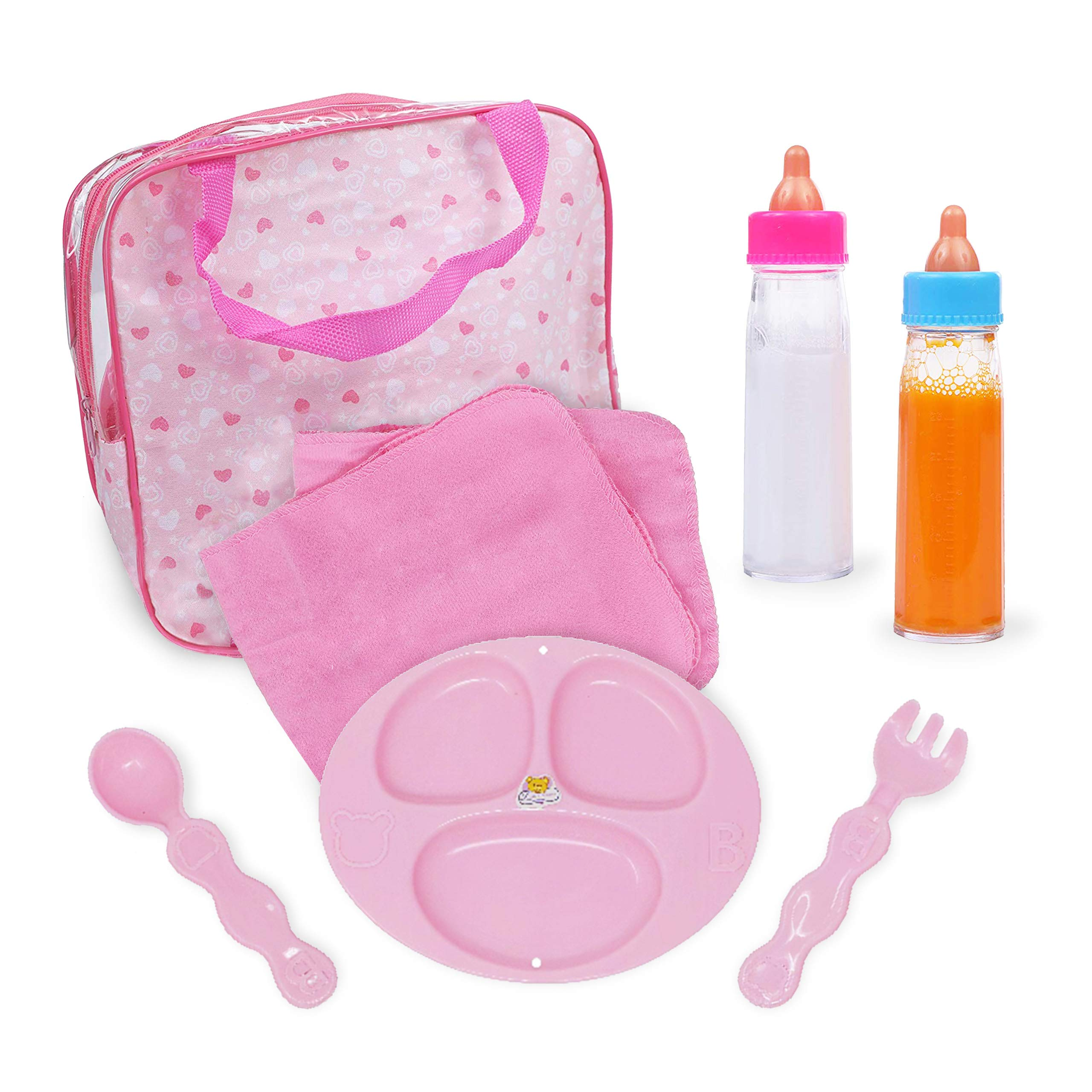 Mommy & Me Baby Doll Accessories Feeding Care 7 Piece Set in a Bag, Includes Doll Magic Bottles