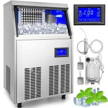 VEVOR 110V Commercial ice Maker 120-130LBS/24H with 33LBS Bin and Electric Water Drain Pump, Clear Cube, Stainless Steel Construction, Auto Operation, Include Water Filter 2 Scoops and Connection Hose