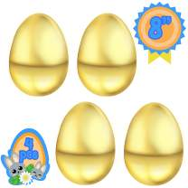 Totem World 4 Jumbo Fillable 8 Inch Gold Metallic Plastic Easter Egg Hunt Party Supply Pack - Big Golden Egg Color - Perfect Size for Filling Favors, Hiding or Crafts