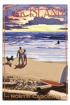 Lantern Press Oak Island, North Carolina, Beach Walk and Surfers 53624 (6x9 Aluminum Wall Sign, Wall Decor Ready to Hang)