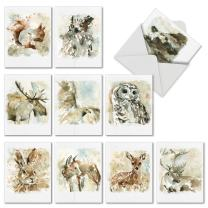 Watercolor Wildlife Thank You and Gratitude Cards with Envelopes 4 x 5.12 inch - Say Thanks for Wedding, Baby Shower, Thanksgiving and Holidays - Boxed All-Occasion Grateful Notecard Set M6629TYG