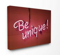 Stupell Home Décor Be Unique Neon Sign Photography Oversized Stretched Canvas Wall Art, 24 x 1.5 x 30, Proudly Made in USA