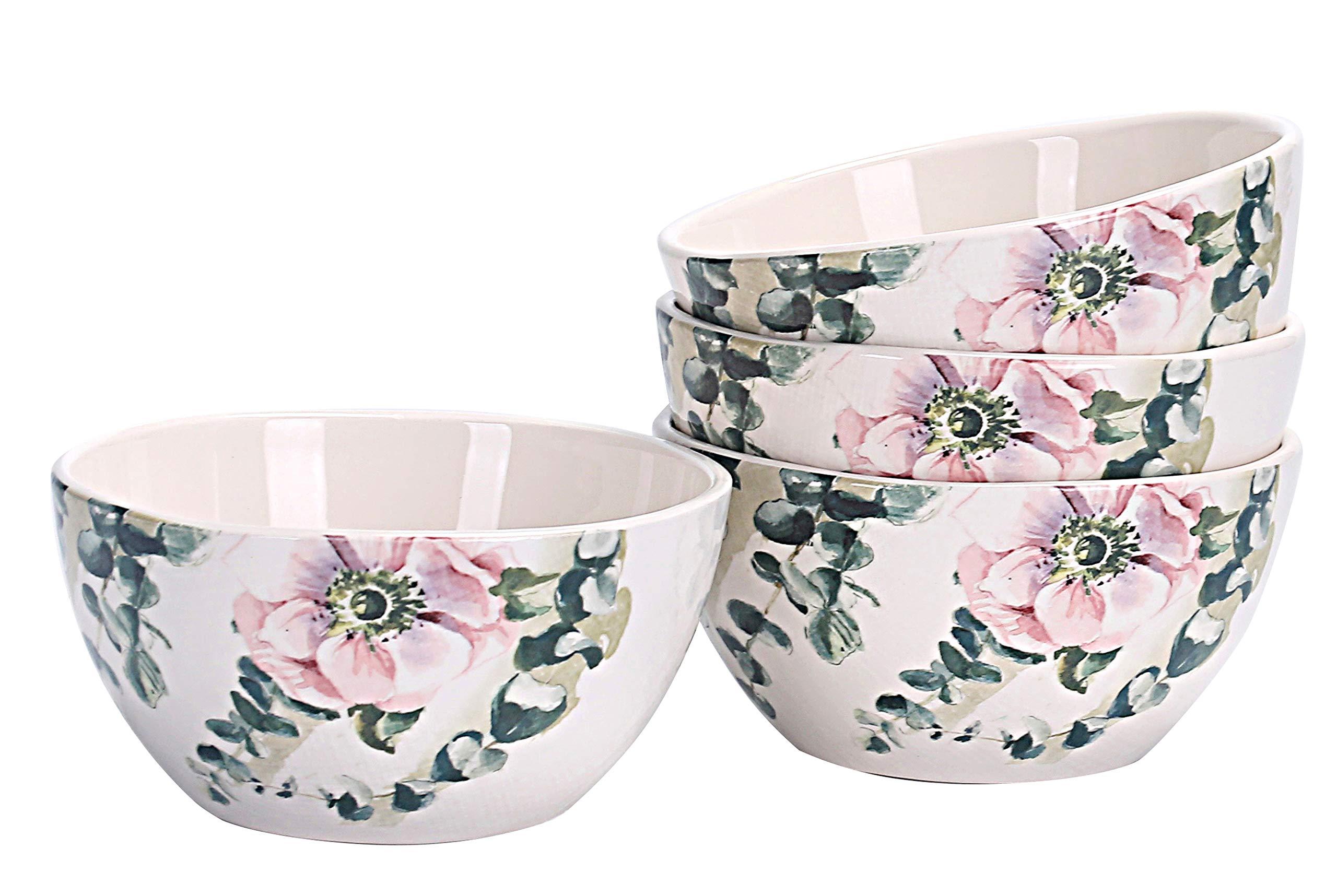 Bico Spring Eucalyptus Salad Bowls Set of 4, Ceramic, 26oz, for Pasta, Salad, Cereal, Soup & Microwave & Dishwasher Safe